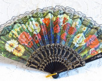 New Hand Held Green Fan -  Nylon Printed With Lovely Flowers - For Wedding, Party, Or Home Decor -  Never Used - FREE SHIPPING.