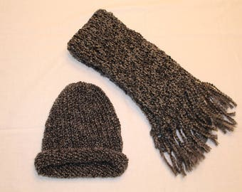 Matching Gray Hat and Scarf Set