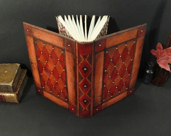 Antique Red Leather Journal, Medieval Romance