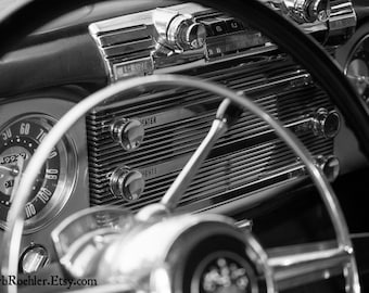 1951 Buick Dash - Rustic Wall Art - Car Art Prints - Black & White - Retro Print - Vintage Car Photography - Garage Art - Fpoe - 8x10