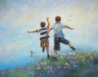 Two Brothers ORIGINAL Painting,two boys leaping painting, two brothers leaping images, boys room wall art, boys playing, Vickie Wade Art