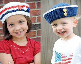 Sailor Hat Crochet Pattern *Instant Download* (Permission to sell all finished products)