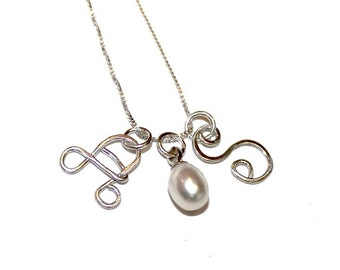 Sterling silver Monogram Necklace, 2 initials, freshwater pearl, personal gift, womans, bride, Initial, elegant, womans,  Free shipping!
