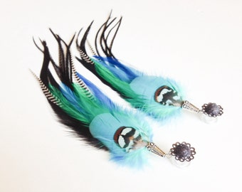 0g Feather Plugs, 2g Dangle Plugs Blue Green Black Grizzly Real Feather Gauges Dangle Long Feather Gauged Earrings 00g Ear Plugs