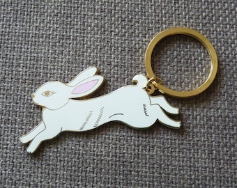 Enamel White Rabbit Keyring