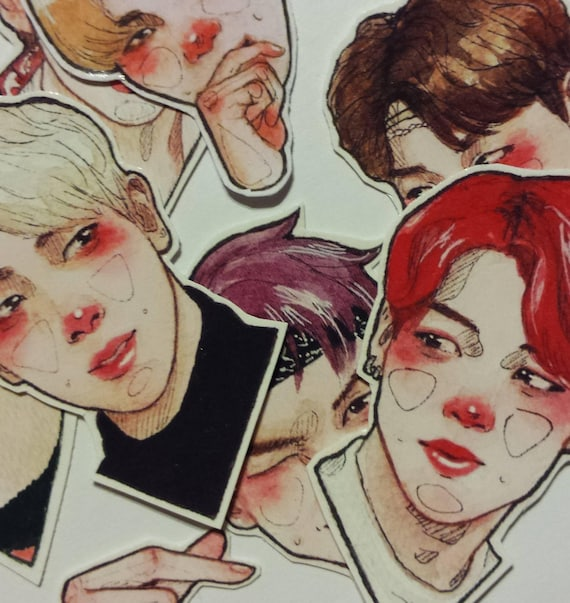 Kpop Stickers Bts Bangtan Korea Bujo Sticker Set Handmade by Etsy