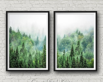 Set Of 2 Forest Prints, Scandinavian Wall Art, Forest Photography, Canadian, Forest Art Print, Landscape Photography, Prints, Forest Print