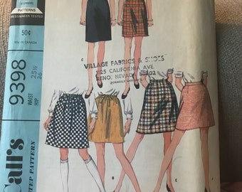 Vintage 60s McCall's 9398 Skirt Pattern-Size 25 1/2 Waist