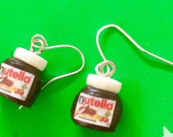 Nutella - Nutella Jar - Nutella earrings, Nutella drop earrings, food jewellery - Nutella Polymer Clay