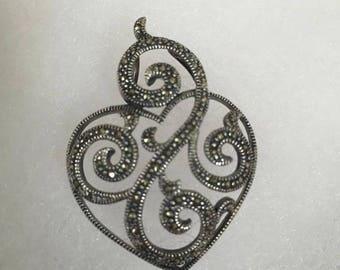 Silver Shimmer Heart Pendant Jewelry