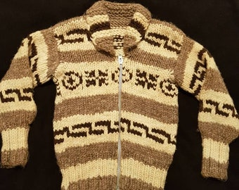 Small 80s- 90s Cowichan Sweater made in Bristish Columbia.