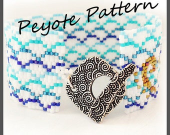 Japanese Ocean Pattern Bracelet - For Personal Use Only PDF Tutorial , geometric bracelet, sea waves cuff, delica tutorial bracelet