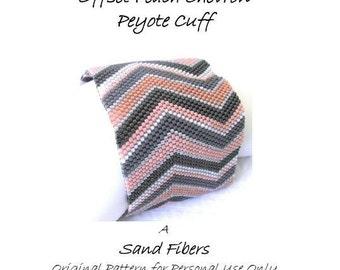 Peyote Pattern  - Offset Peach Chevron Cuff /  Bracelet - A Sand Fibers For Personal Use Only PDF Pattern - 3 for 2 Savings Program