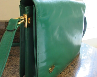 LOVELY Vintage 1980's 'Dorothy Perkins' Bright Green Leather Handbag Shoulderbag - Cute!!