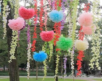 5pcs DIY Tissue Paper Flower, Paper Flower Pom Poms Wedding Baby Shower Party Nursery Hanging Decoration Favor
