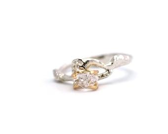 Herkimer Diamond Twig Engagement Wedding Ring