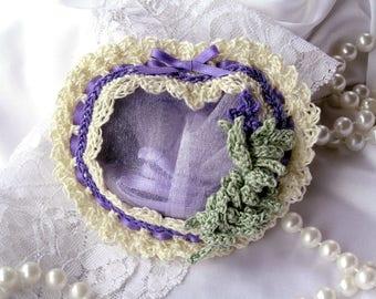 Crochet Heart, heart sachet, crochet sachet, lavender, scented sachets, sachet favor, potpourri, floral sachet, air freshener, wedding favor