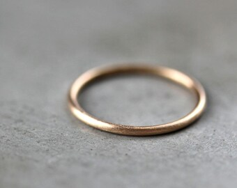 Women's Slim Gold Wedding Band, Skinny Round Recycled 14k Yellow Gold Ring Brushed Gold Wedding Ring or Stacking - Made in Your Size
