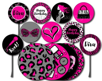 Diva Cake Topper, Printable Diva Party Cupcake Topper, Diva Birthday Party Centerpiece, Glamour Party, Girl Birthday Party, Leopard Party