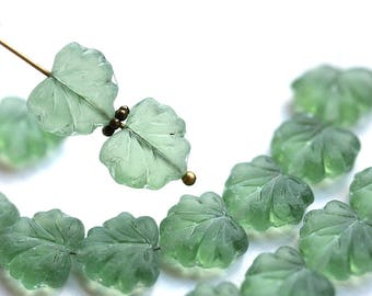 Light Antique Green Czech glass leaf beads, Matte Pale Green Maple pressed leaves - 11x13mm - 10Pc - 1265