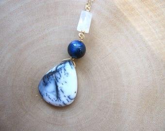 Long Boho Necklace, Dendritic Opal Gold, Gem Stacker Necklace, Dendrite Teardrop, Multi Gemstone Jewelry, Dendrite Briolette, Natural Stones