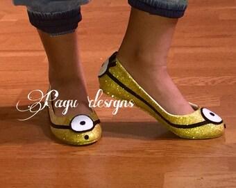 Minion Glitter Flat Shoes, Ballet flats,