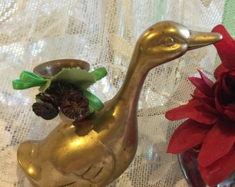 Solid Brass Duck, Vintage Solid Brass Duck Candlestick Holder