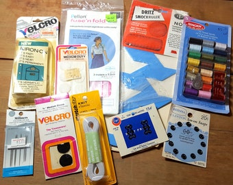 Vintage Sewing Supplies Dritz Smock Ruler Velcro Needles Thread Snaps Hooks and Eyes Elastic