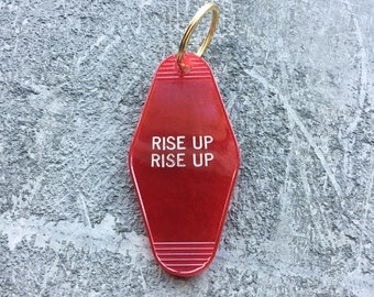 Rise Up Rise Up Key Fob in Translucent Red Revolution Key Chain by Minor Thread Motel Key Fob