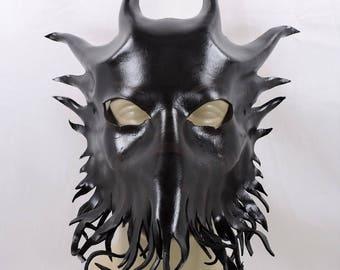 Cthulu / Bog Lord / Demon Mask - Black - Leather LARP Cosplay Costume Halloween