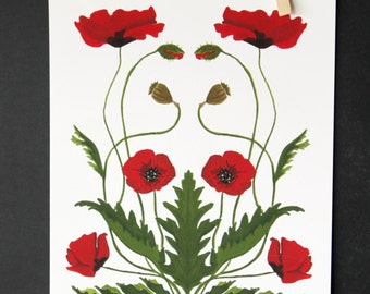 Mirrored Poppies Print