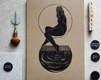 Moon print Linocut print Girl and Moon Art print / feminine art / handmade print /gift for her