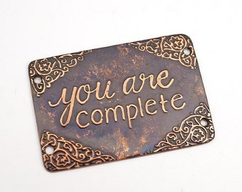 4 hole rectangular etched copper bracelet component, you are complete, phrase link, 40mm x 27mm