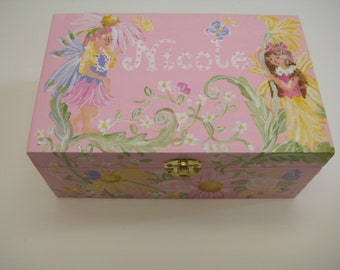 hand painted,personalized, keepsake box, pale pink,pastels,fairies ,flowers, girl's memory box, baby's keepsake box, personalized  baby gift
