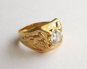 ON SALE Vintage Ring Vintage SETA Gold Colored Ring Mens Griffin Ring  Rhinestone Ring Faux Diamond
