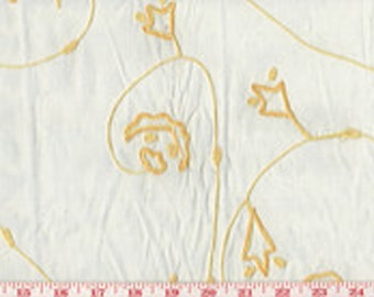 Embroidered Floral on Organdy Drapery Top of Bed Pillow Fabric Roth Fabric RT91 CL Yellow on White