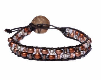 Glass Seed Bead Leather Wrap Braclet