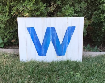 Chicago Cubs W Flag, Cubs Win Flag, wooden Cubs Flag