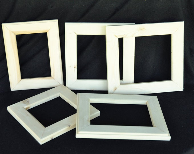 Our new grab bag like box of 5 different sized unfinished wood frames