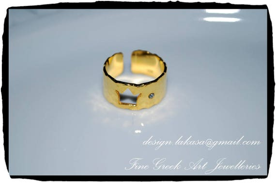 Crown Chevalier Ring Sterling Silver 925 Gold Plated Jewelry