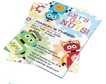 Robot Invitation | Robots | Robot Invite | Robot Birthday | Robot Birthday Party | Custom Printable | Let's Go Nuts Friends