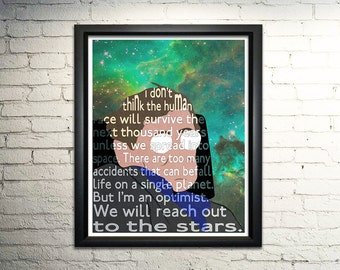 "Stephen Hawking word art print - 8x10"""