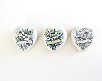 Vintage Heart Tins . small metal tins . small heart tins . heart shaped box . small metal box . metal heart tins . floral box . heart box