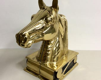 Vint.Virginia VA Metal Crafters THE STALLION Set of 2 Horse Head Brass Bookends