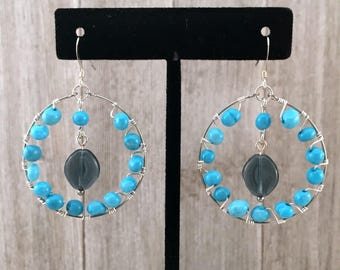 Blue Magnesite and Montana Czech Glass Hoop Earrings
