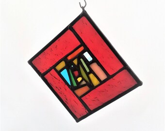 "Red Multicolor Suncatcher 4-1/8""x4-1/8"""