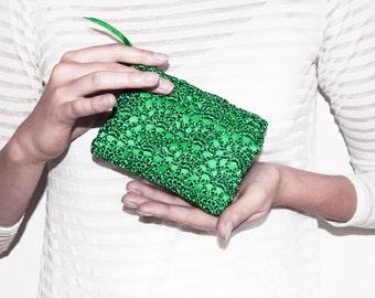 Earbud Case, Emerald Green Coin Purse, Credit Card Holder, Business Card Case, Zipper Jewelry Pouch, Rosary Pouch, Gadget Case Zipper Pouch