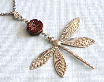 Long Silver Dragonfly Necklace - Large Dragonfly, Red Necklace,  Dragonfly Jewelry, Nature Jewelry