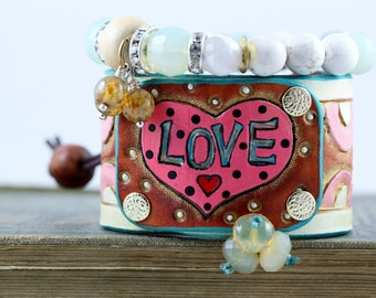 More PINK LOVE,Leather cuff bracelet, hand carved and painted, HEART, boho, hippie jewelry, cowgirl jewelry