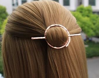 Open Circle Hair Slide, Minimalist Hair Pin Hair Stick, Hair Brooch Hand Forged Hair Barrette, Geometric Hair Holder, Hair Accessories, Gift